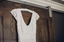 Hotel Ballard Wedding in Seattle | Beaded, capped sleeve wedding dress in getting ready room of Hotel Ballard | Perfectly Posh Events, Seattle Wedding Planner | Mike Fiechtner Photography