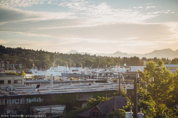 Hotel Ballard Wedding in Seattle, WA | Scenic Olympic Mountain Range atop Olympic Rooftop Pavilion | Perfectly Posh Events, Seattle Wedding Planner | Mike Fiechtner Photography