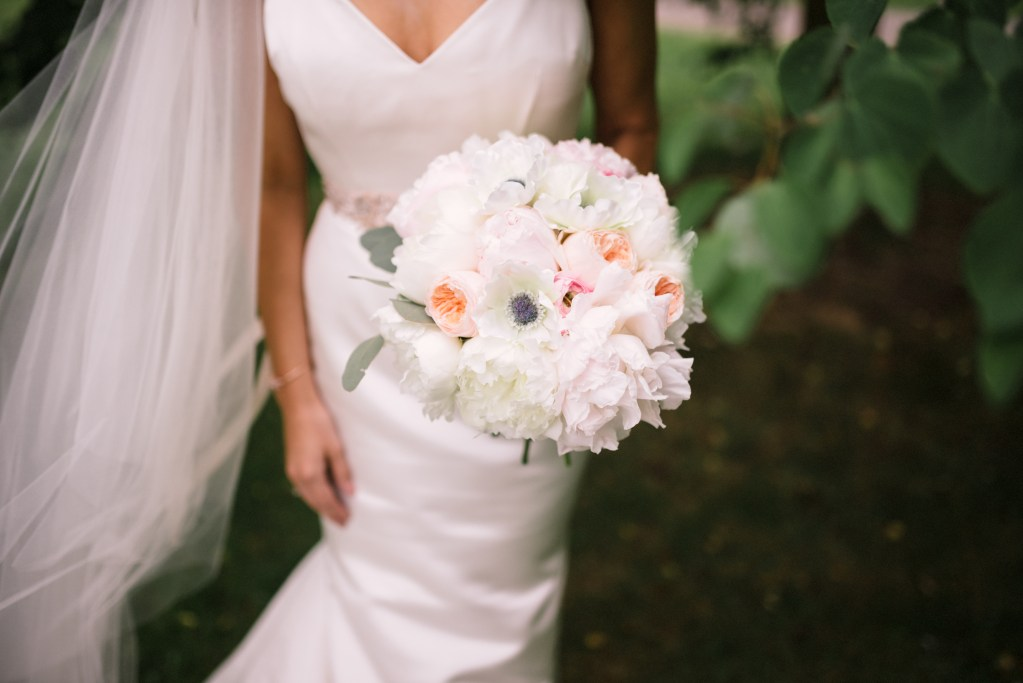 Axis Pioneer Square Wedding in Seattle | White and blush round bridal bouquet with peonies, garden roses, and anemones | Perfectly Posh Events, Seattle Wedding Planner | Roland Hale Photography | Floral Design by Sugar Pine {Formerly known as Butter & Bloom}