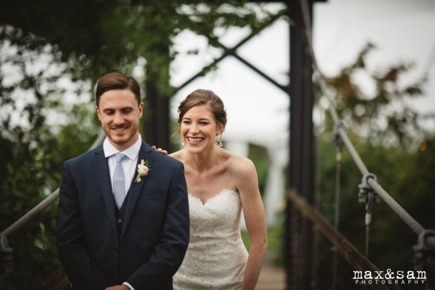The Lodge at Fall City Wedding in Seattle, WA | First look on romantic PNW bridge | Perfectly Posh Events, Seattle Wedding Planner | Max & Sam Photography