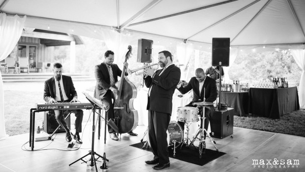 The Lodge at Fall City Wedding in Seattle, WA | Jazz band for cocktail hour at wedding reception | Perfectly Posh Events, Seattle Wedding Planner | Jason Parker Jazz Band | Max & Sam Photography