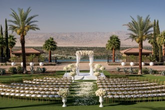 The Ritz-Carlton, Rancho Mirage, Palm Springs wedding venue | ceremony set-up | Perfectly Posh Events, Seattle and Portland Wedding Planner | Don Riddle Photography