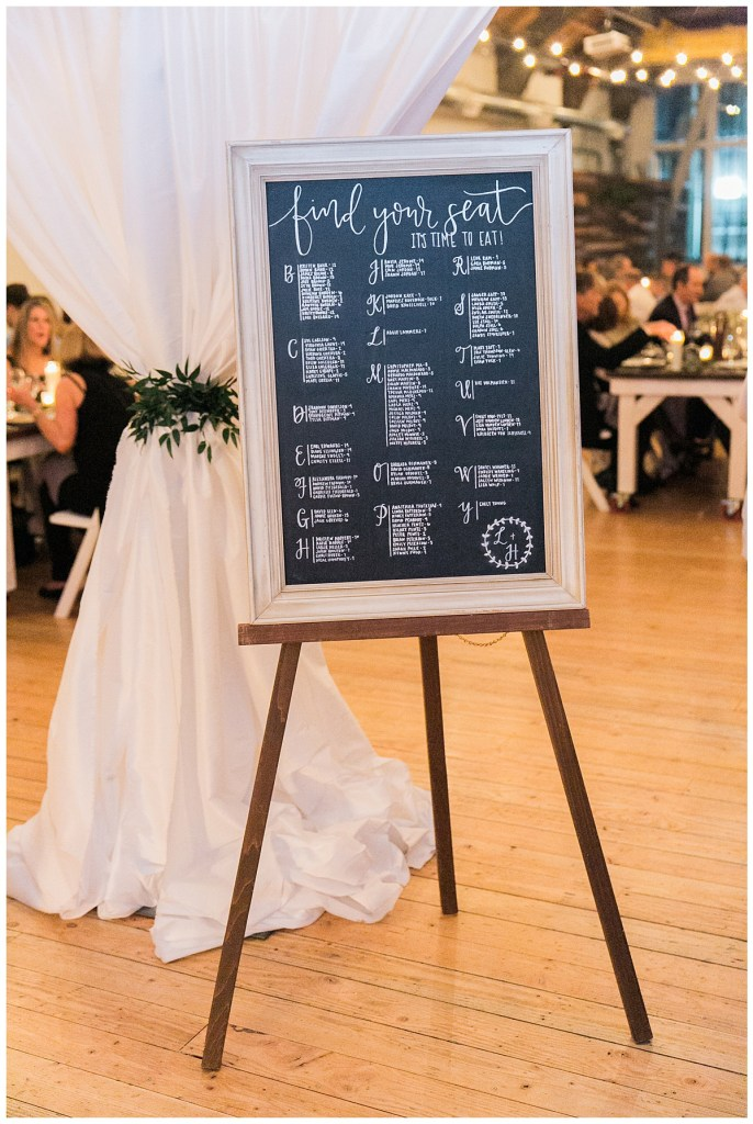 Metropolist Wedding in Seattle, WA   Escort sign on chalkboard with white ink and couple crest   Seattle Wedding Planner, Perfectly Posh Events   Katie Parra Photography   Calligraphy by Whit Design Shop