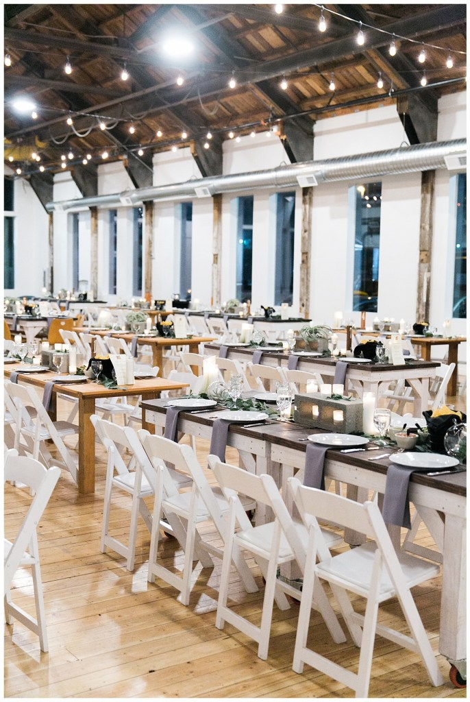 Metropolist Wedding in Seattle, WA | Modern and industrial decor in gray and white wedding reception | Seattle Wedding Planner, Perfectly Posh Events | Katie Parra Photography
