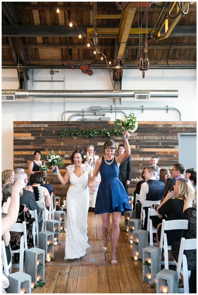 Same Sex Metropolist Wedding in Seattle, WA   Industrial modern wedding design, using cinder blocks   Seattle Wedding Planner, Perfectly Posh Events   Katie Parra Photography   Floral Design by Sublime Stems
