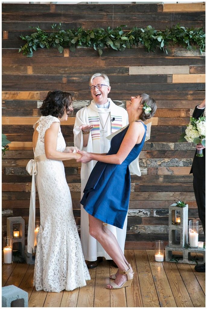 Same Sex Metropolist Wedding in Seattle, WA   Industrial modern wedding design, with cinder blocks for the aisle and altar decor   Seattle Wedding Planner, Perfectly Posh Events   Katie Parra Photography   Floral Design by Sublime Stems