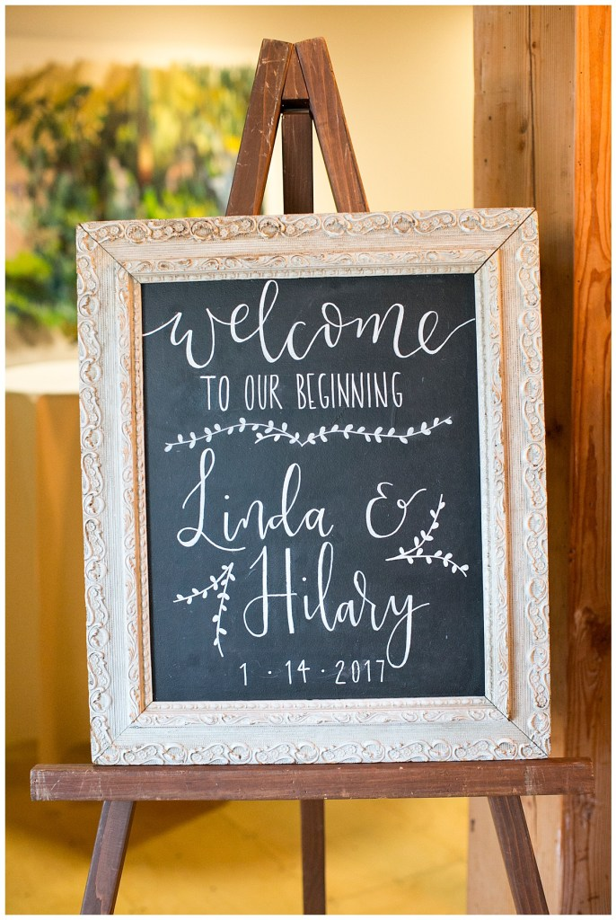 Metropolist Wedding in Seattle, WA | Welcome chalkboard sign with white ink | Seattle Wedding Planner, Perfectly Posh Events | Katie Parra Photography | Calligraphy by Whit Design Shop