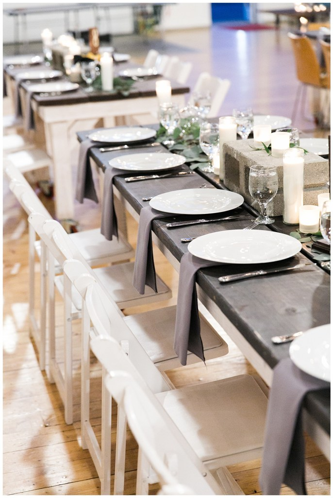 Metropolist Wedding in Seattle, WA | Gray and white wedding reception decor for modern industrial wedding reception | Seattle Wedding Planner, Perfectly Posh Events | Katie Parra Photography