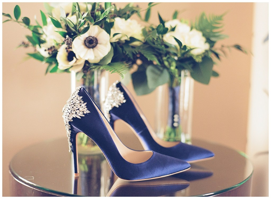 Metropolist Wedding in Seattle, WA | Navy and white bridal bouquet with navy glitzy Badgley Mischka pumps | Seattle Wedding Planner, Perfectly Posh Events | Katie Parra Photography | Floral Design by Sublime Stems