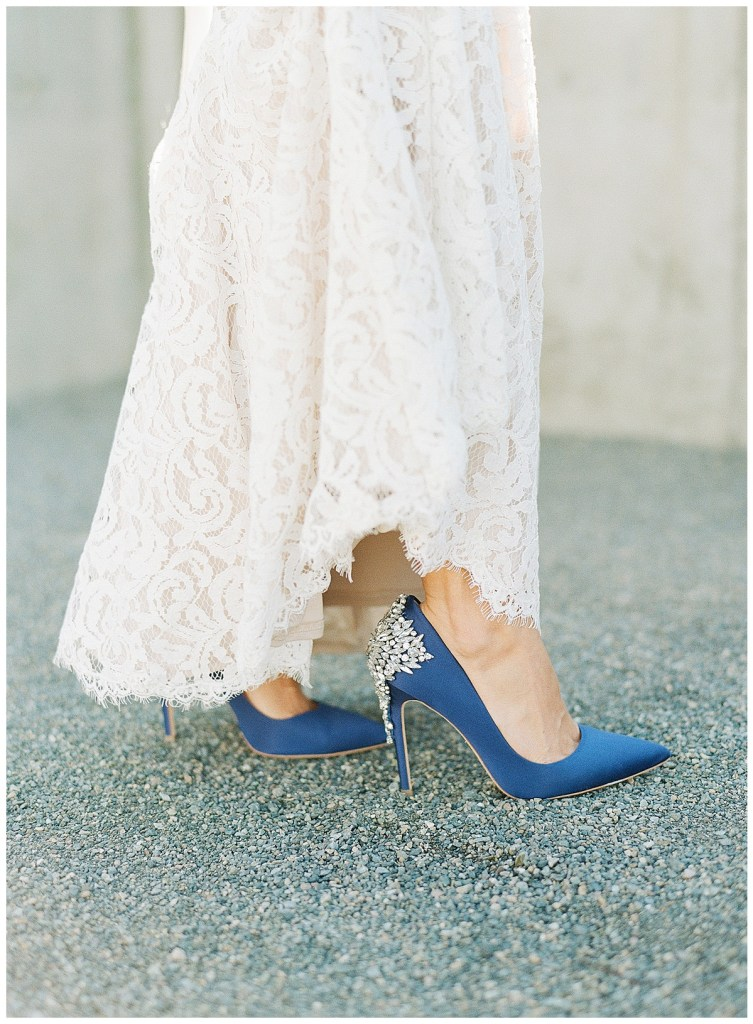 Metropolist Wedding in Seattle, WA | Navy glitzy Badgley Mischka pumps for wedding shoes | Seattle Wedding Planner, Perfectly Posh Events | Katie Parra Photography