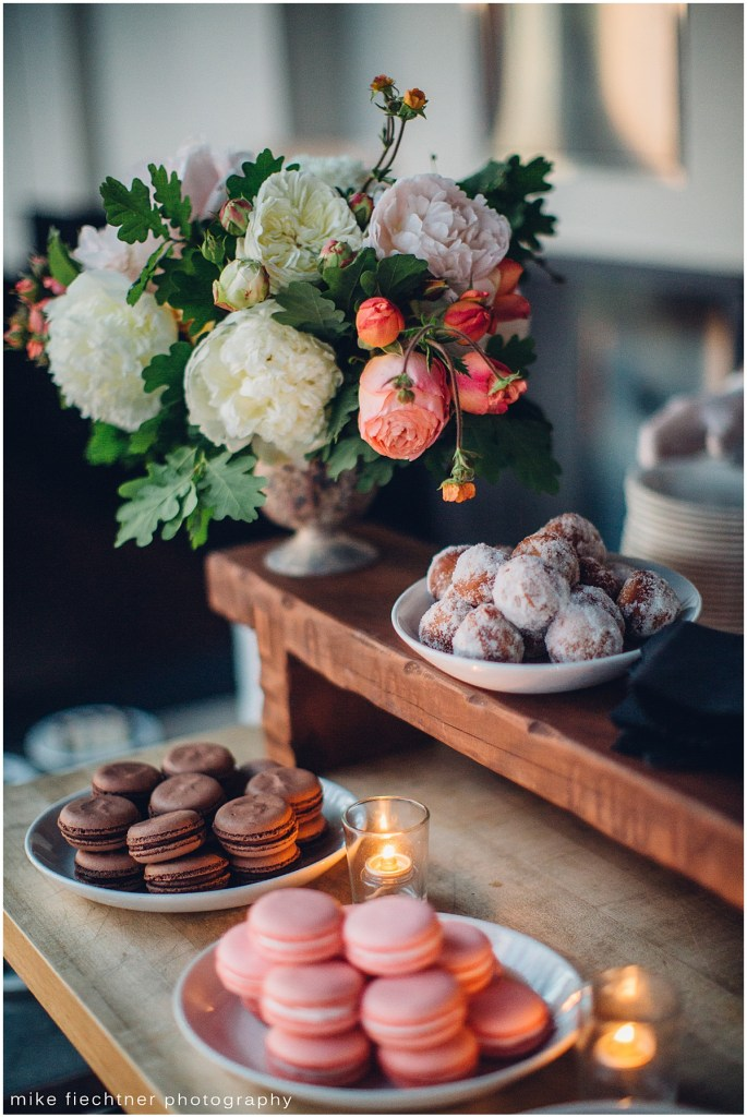 Dessert bar featuring chocolate and strawberry macarons and doughnuts, Olympic Rooftop wedding, Seattle wedding, wedding planning by Perfectly Posh Events, Seattle and Portland Wedding Planner, Photo by Mike Fiechtner Photography