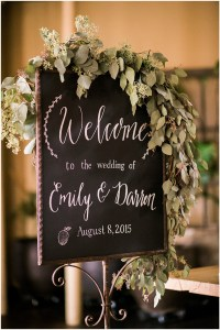 Chalkboard wedding reception welcome sign draped in greenery, Seattle wedding at Sodo Park, Perfectly Posh Events wedding planning and design, Seattle and Portland Wedding Planner, Photo by Kimberly Kay Photography