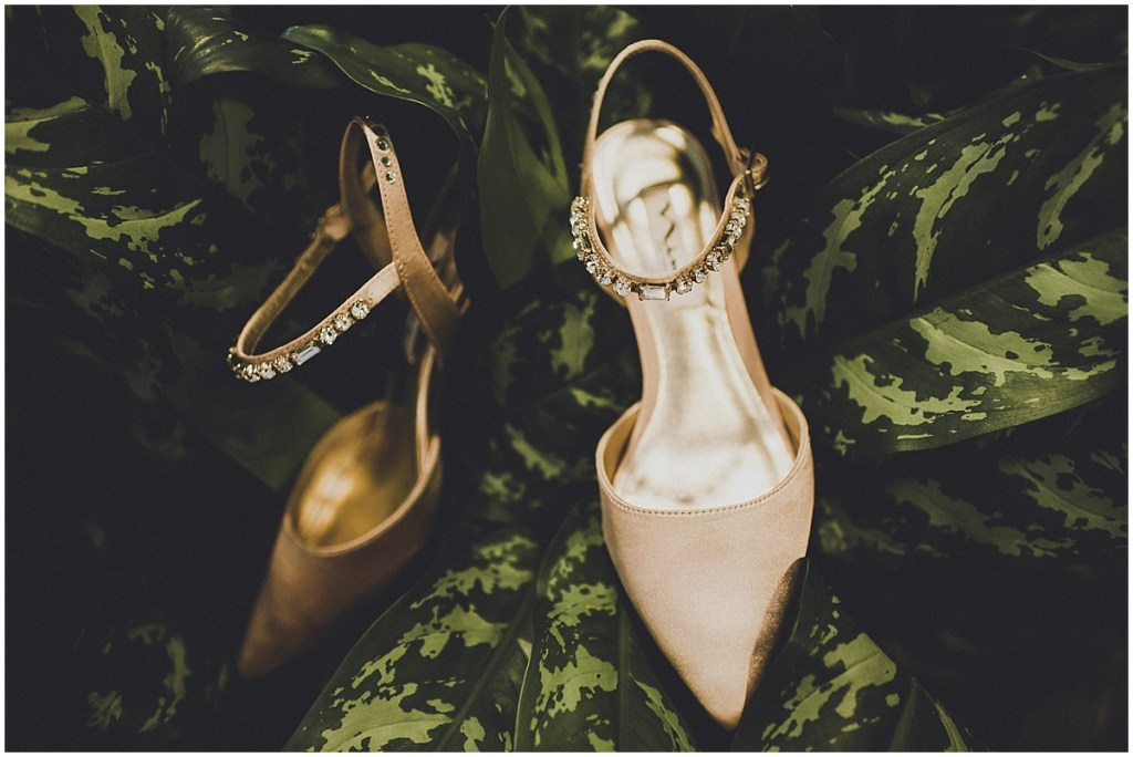 Gold colored pumps with jeweled straps, mid century modern wedding, The Foundry by Herban Feast wedding, Seattle wedding, Perfectly Posh Events wedding planning and coordination, Photo by Carina Skrobecki