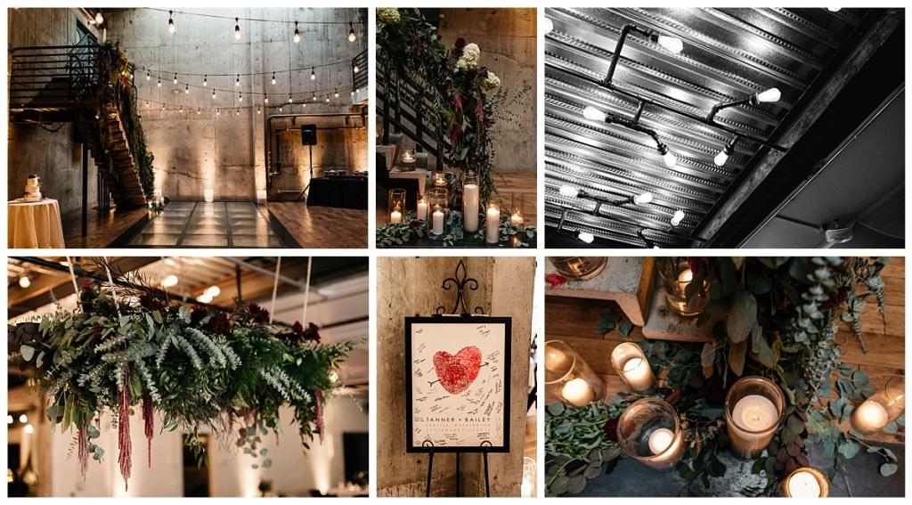 Dark and moody floral wedding design in a Seattle modern industrial wedding venue.