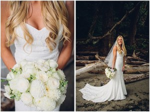 A bride in an off-white mermaid gown poses while holding an ivory floral bouquet at the beach in Puget Sound, Washington wedding, Perfectly Posh Events wedding planning, Washington wedding planner, Photo by Mike Fiechtner Photography