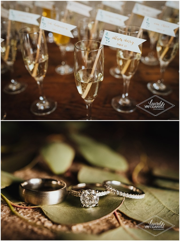 Champagne glasses with custom made flags with guest names and the bride and groom
