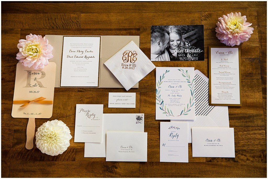 Custom made wedding stationary including invitations, napkins, save the date cards, and fans, Sodo Park wedding, Seattle wedding planner, Perfectly Posh Events, Photo by La Vie Photography
