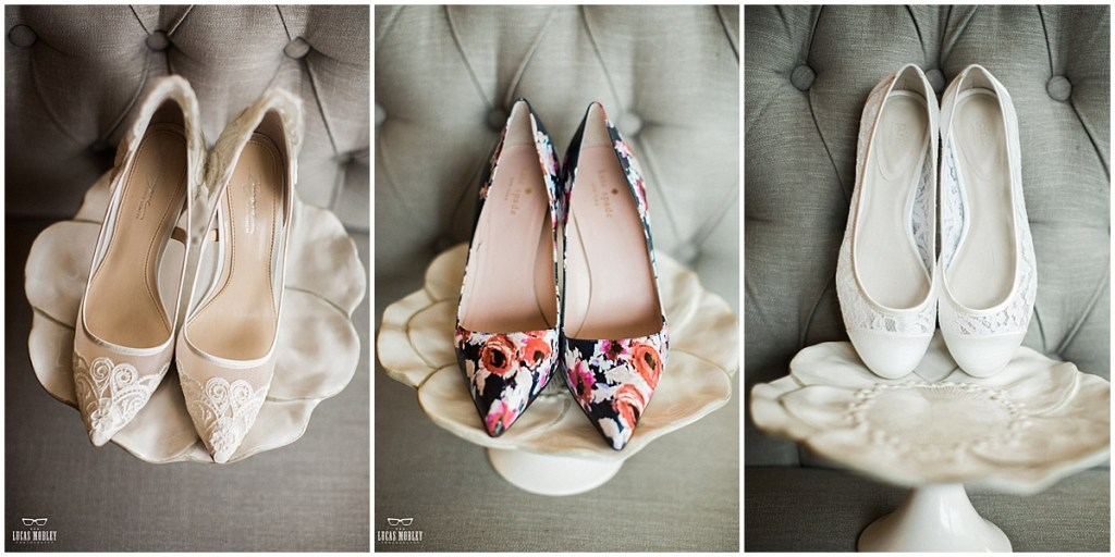 Close up of three pairs of bridal shoes: an ivory lace pair of pumps, navy and pink floral pumps, and lace ivory ballet flats, The Foundry by Herban Feast wedding, fall wedding, Seattle wedding planner, Perfectly Posh Events, Photo by Lucas Mobley Photography