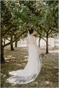 Back view of bride posing underneath trees while wearing a white backless mermaid wedding gown and a sheer white veil, DeLille Cellars winery, Woodinville Washington wedding, event planning by Perfectly Posh Events , Photo by Kristen Marie Parker