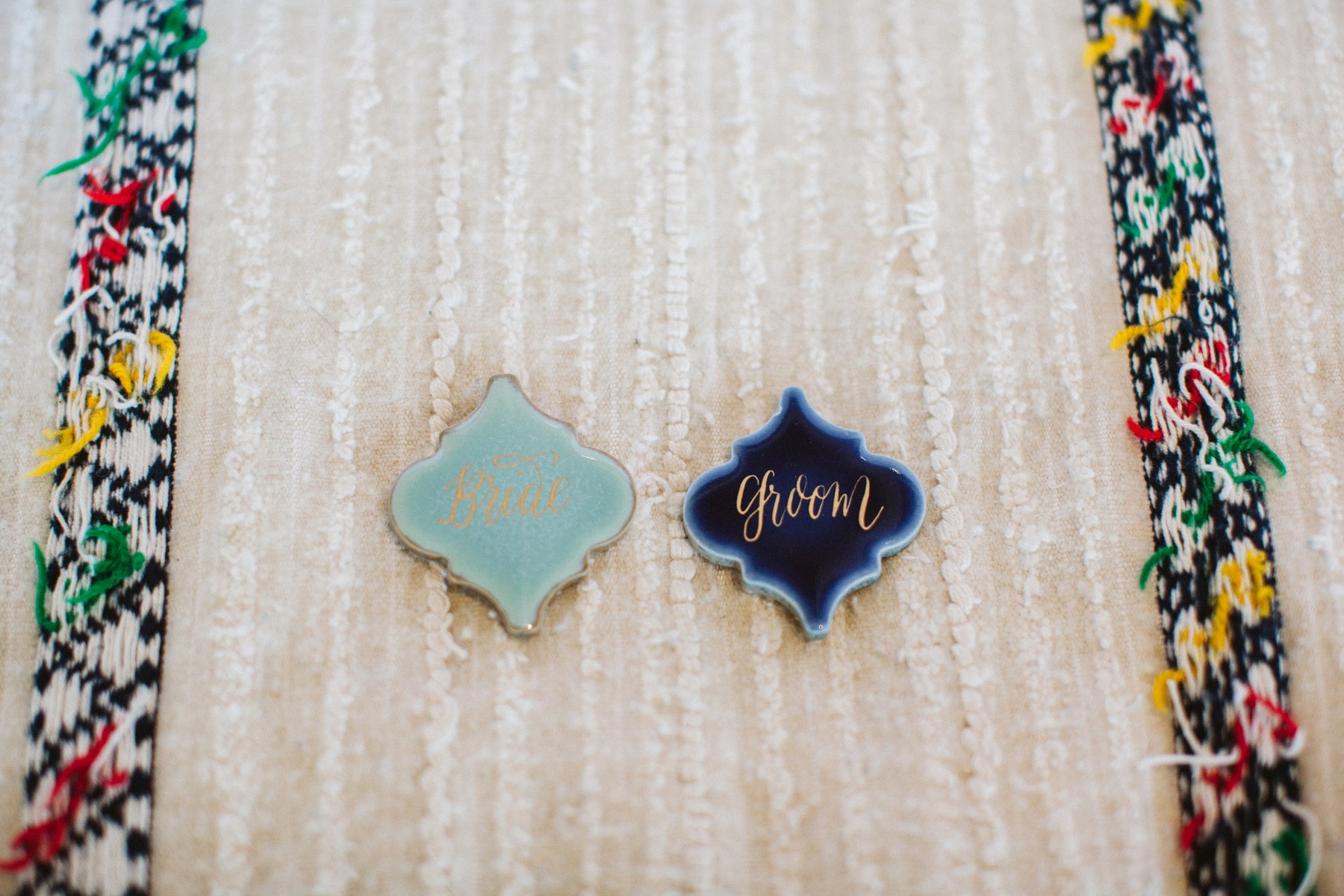 Moroccan Arabesque tiles used as place cards for your wedding reception | Tiles by Anchored Paper Co. | Sara Parsons Photography | Perfectly Posh Events
