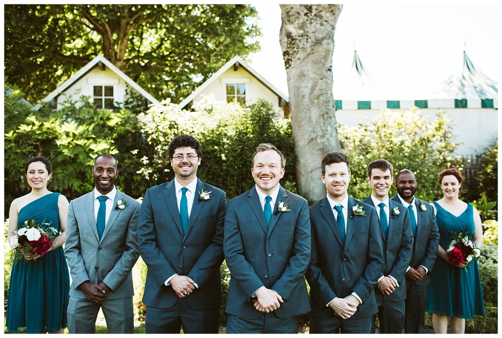 Groomsmen pose, teal ties and grey suits | Blooms by Bloom San Juan | San Juan Island Wedding Planner, Perfectly Posh Events | Sara Parsons Photography