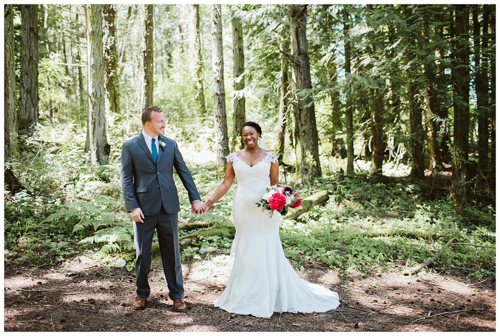 Woodsy backdrop for first looks photos | Blooms by Bloom San Juan | San Juan Island Wedding Planner, Perfectly Posh Events | Sara Parsons Photography.