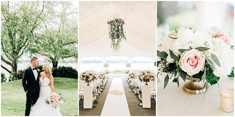 Elegant blush, white, gold wedding at The Woodmark Hotel in Kirkland with hanging greenery chandeliers, white tent, and black-tie attire | Wedding Planner Perfectly Posh Events | Photo by Jenna Bechtholt | #perfectlyposhevents