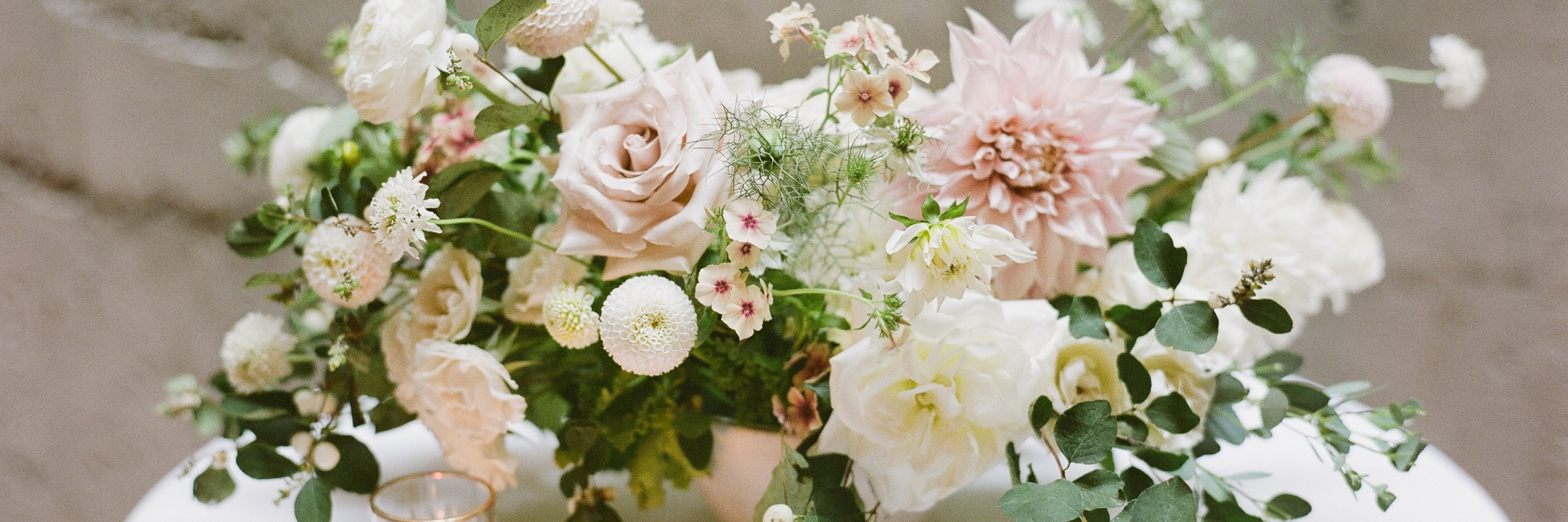 Fremont Foundry Wedding in Seattle with blush and white flowers, Photo by Katie Parra