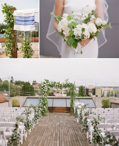 A light and airy Jewish wedding ceremony on the rooftop at Fremont Foundry. Click for more wedding inspiration from this light + airy wedding in Seattle at wedding venue Fremont Foundry. Event planning by Perfectly Posh Events, based in Seattle and Portland. Wedding photography by Katie Parra Photography. Wedding flowers by Leigh & Mitchell. #perfectlyposhevents