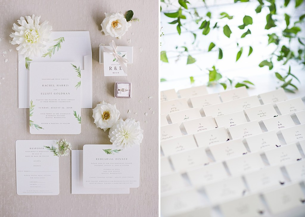 Light and breezy wedding stationary by Minted. Click for more wedding inspiration from this light + airy wedding in Seattle at wedding venue Fremont Foundry. Event planning by Perfectly Posh Events, based in Seattle and Portland. Wedding photography by Katie Parra Photography. #perfectlyposhevents