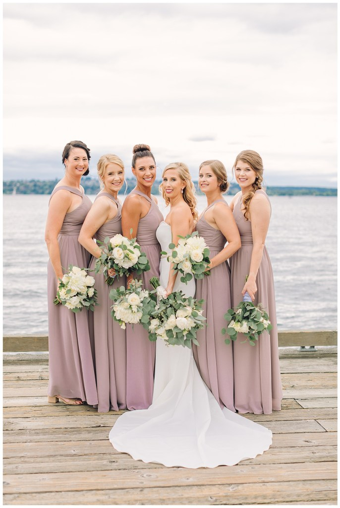 Elena's bridal party dresses were a muted mauve that helped set the tone for the romantic day.