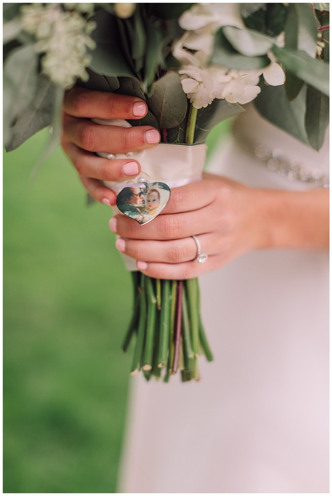 A photo of Elena's father, who is no longer with us, adorns Elena's bouquet.
