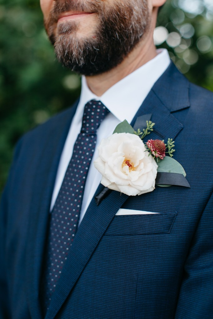 Pantone Color of the Year, Classic Blue, for 2020 is seen here in the groom's wedding day suit.