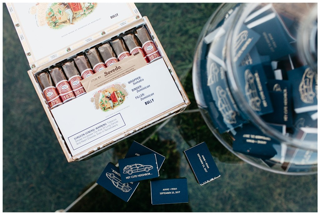 Wedding cigar bar and navy matchbooks.