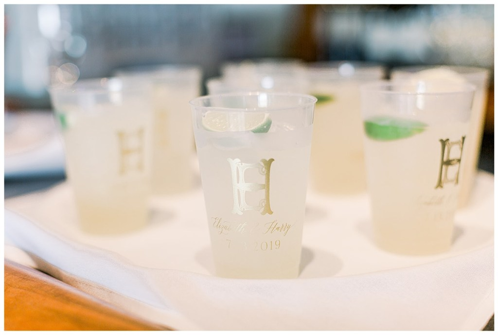 Wedding reception cocktail cups custom monogram.