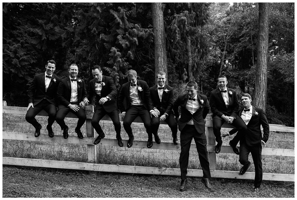 Cute groomsmen posing for wedding photos. Click for more PNW design from this Chateau Lill wedding in Woodinville, WA. Wedding planning by Perfectly Posh Events, based in Seattle. Wedding photography by Shane Macomber Photography. Wedding Flowers by Flora Nova Design. #perfectlyposhevents