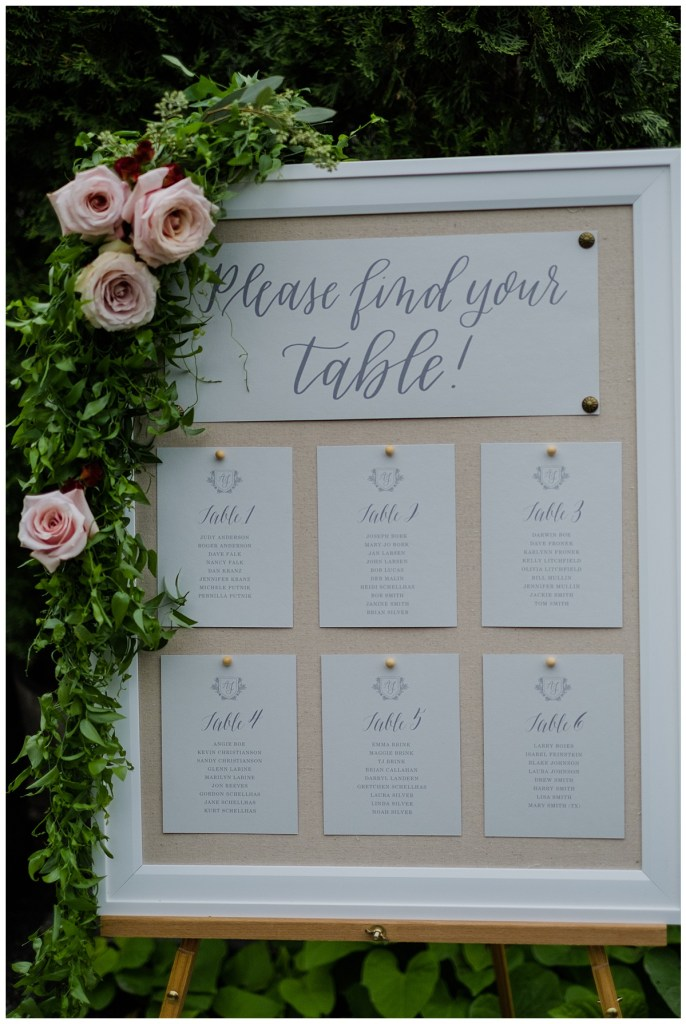 Linen board escort sign with blush flowers and greenery accenting the sign. Click for more lush and luxurious wedding design from this Chateau Lill wedding in Woodinville, WA. Wedding planning by Perfectly Posh Events, based in Seattle. Wedding photography by Shane Macomber Photography. Wedding Flowers by Flora Nova Design. Signage by Anchored Paper Co.#perfectlyposhevents