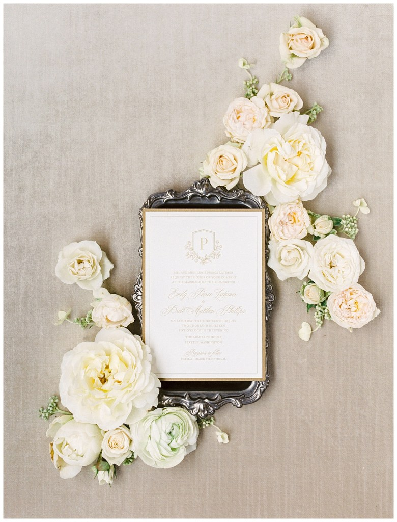 Elegant wedding flat lay inspiration by Kaleb Norman James. Click for more from this Timeless Coastal Wedding at The Admiral\\\'s House in Seattle, WA. Wedding planning by Perfectly Posh Events, based in Seattle and Portland. Wedding photography by Amanda K Photography. Flatlay Design by Kaleb Norman James Design. Printed Goods by Perfect Press. #perfectlyposhevents