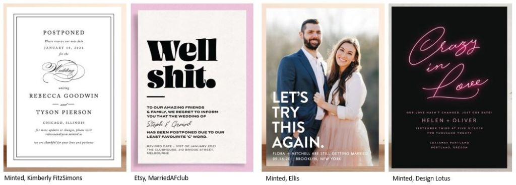 Wedding Postponement Cards from Minted | How to communicate with your guests about your new wedding date due to COVID-19