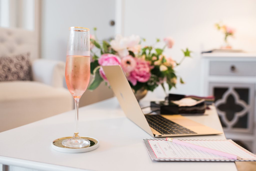 Wedding planning with champagne at Perfectly Posh Events