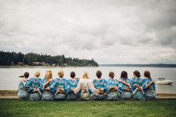 Edgewater House Wedding, Gig Harbor, WA | Scenic Bride and Bridesmaids in blue getting ready robes | Seattle Wedding Planner, Perfectly Posh Events | Mike Fiechtner Photography