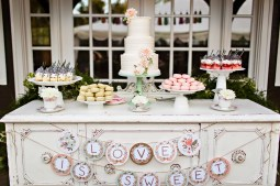 Robinswood House Wedding in Bellevue | Rustic dessert table with whimsical decor | Perfectly Posh Events, Seattle Wedding Planner | Courtney Bowlden Photography | Midori Bakery | Shabby chic dessert display with wedding cake, parfaits, and macarons