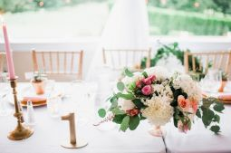 Glen Acres Golf Club | Seattle | Seattle Wedding Planner | Perfectly Posh Events | Barrie Anne Photography | Butter and Bloom | Table setting and centerpieces with pink and white flowers