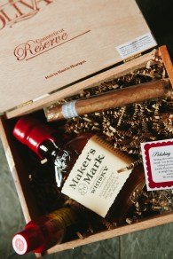 DeLille Cellars Wedding in Woodinville, WA | Groomsmen wedding day gift boxes with Maker's Mark Whiskey & Cigars | Perfectly Posh Events | Lucid Captures Photography
