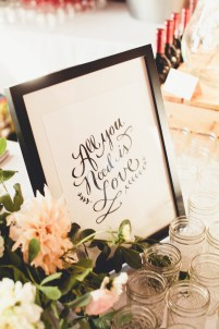 Wedding reception calligraphy sign  Golden Gardens Bathouse Wedding   Perfectly Posh Events, Seattle Wedding Planner   Andria Linquist Photography   Holly + Dustin Wedding // © Andria Lindquist 2014