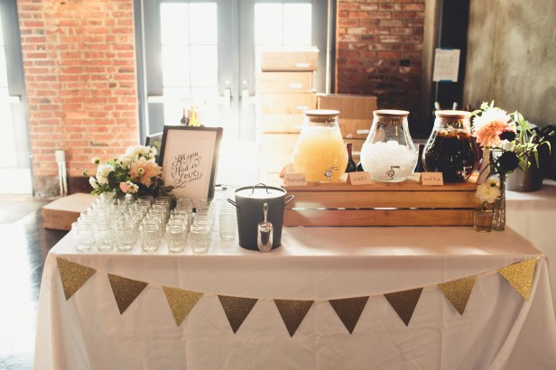 Beverage Station at Wedding Reception with drink dispensers and calligraphy sign | Golden Gardens Bathouse Wedding | Perfectly Posh Events, Seattle Wedding Planner | Andria Linquist Photography | Stacy Anderson Design | Holly + Dustin Wedding // © Andria Lindquist 2014