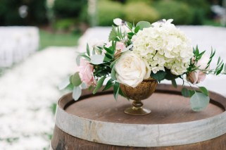 White and light pink centerpeice in a mercury gold compote, woodinville wedding planner, Allison Dan Woodinville Wedding by Perfectly Posh Events, Photo by Blue Rose Photography