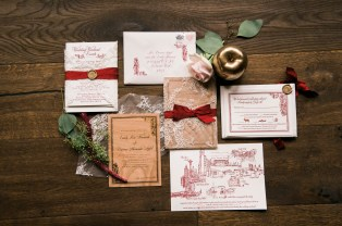 Custom wedding invitation suite engraved wood invitation with gold lace and Marsala letterpress | Sodo Park Wedding in Seattle | Wedding Planning and Design by Seattle Wedding Planner Perfectly Posh Events | Kimberly Kay Photography | Floressence