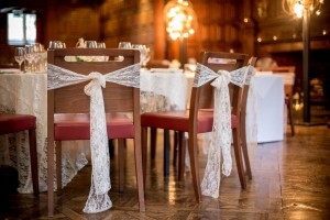 Chairs with lace sashes