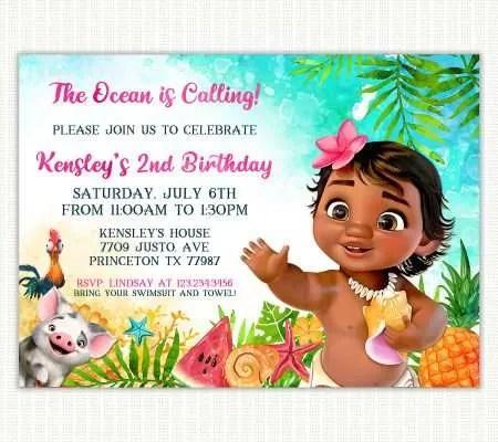 moana birthday invitations archives